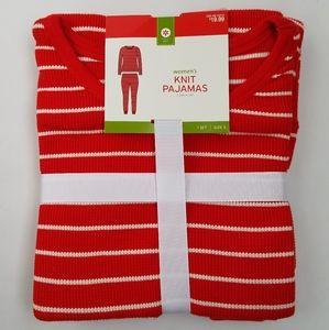 NWT Target 2-pc white stripe knit pajama set